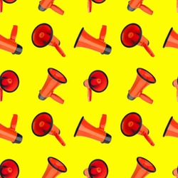 Seamless pattern of orange megaphones on yellow background isolated closeup, loudspeakers backdrop design, loudhailers ornament wallpaper, announce or advertisement symbol, media or communication sign