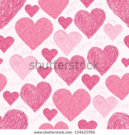 seamless pattern of pink hearts and words I love you, made from vector