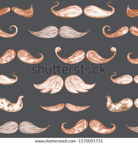 Seamless pattern of retro moustache, watercolor hand drawn, clear cutout contour, nice on any color background. Brown mustaches, symbol for hipster photos, cards, barbershop, logo, xmas wrapping paper