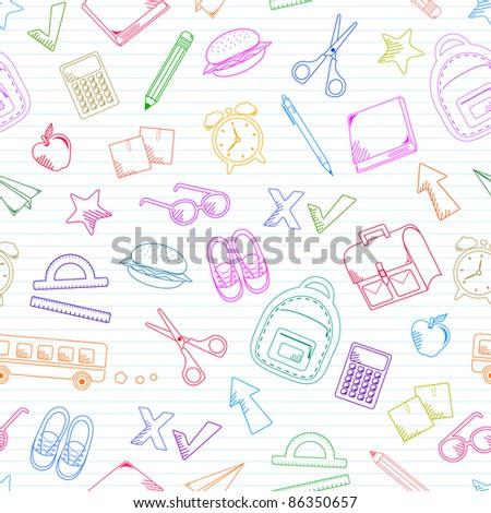 seamless pattern of school doodles (raster version)