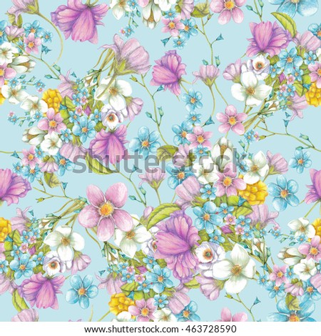 Seamless pattern of  summer wildflowers on blue background