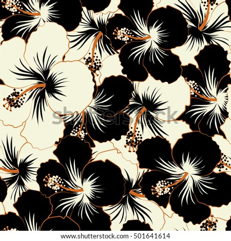 Vector tropical leaves and black and white flowers seamless pattern vector tropical leaves and black and white flowers seamless pattern hand painted illustration in black and white colors ez canvas mightylinksfo