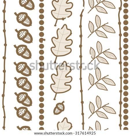 Seamless   pattern of  vertical floral motif, ellipses, leaves, oak, autumn theme, doodles. Hand drawn.