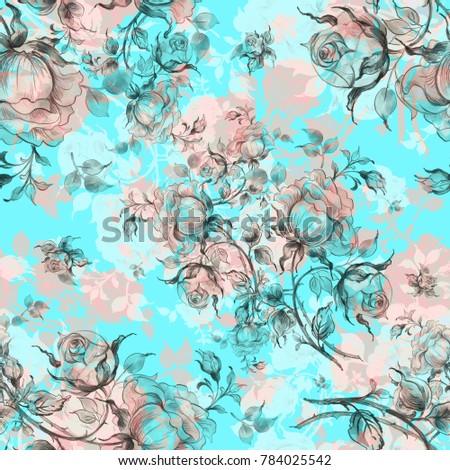 Seamless Pattern Of Vintage Roses K