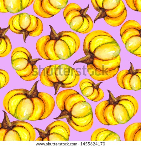 Seamless pattern of yellow ripe pumpkins. Botanical illustration for textiles, packaging and backgrounds on the theme of organics and nature.