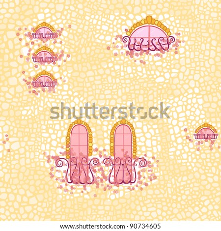 Seamless pattern: old stone wall, windows and balconies twined with pink flowers.