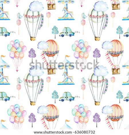 Seamless pattern on weekend theme; watercolor air balloons, aerostats, carousel and cars, hand drawn isolated on a white background