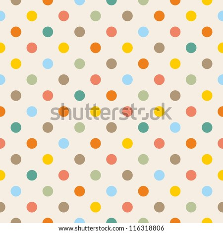 Seamless pattern or texture with colorful yellow, orange, pink, green and blue polka dots on beige background. For web design, baby shower card, party, scrapbooks. Sweet autumn or thanksgiving colors.
