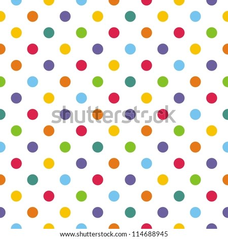 Seamless pattern or texture with colorlful polka dots on white background for backgrounds, blogs, www, scrapbooks, party or baby shower invitations and elegant wedding cards.