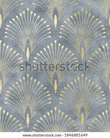 Seamless pattern ornamental watercolor texture luxury style wallpapers textile interior design golden monochrome classic geometry modern print damask Сток-фото ©