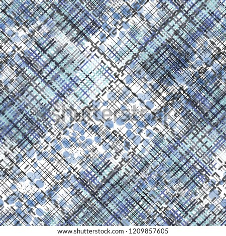 Seamless pattern patchwork design. Mixed print with tartan and tweed lines. Watercolor effect. Suitable for bed linen, leggings, shorts and fashion industry. #1209857605