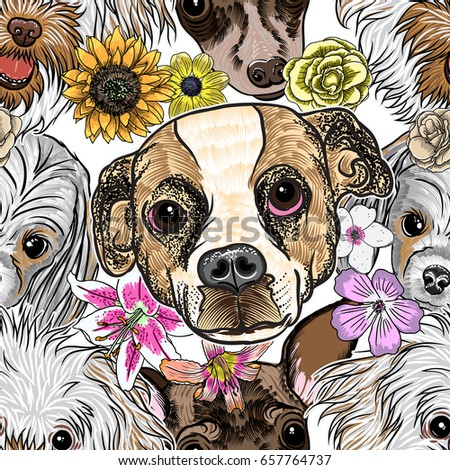seamless pattern purebred cute...