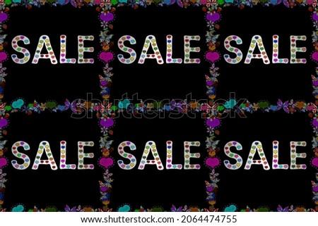Seamless pattern. Raster illustration. Illustration in white, black and blue colors. End of season special offer banner. Sale banner template design, Big sale special offer.