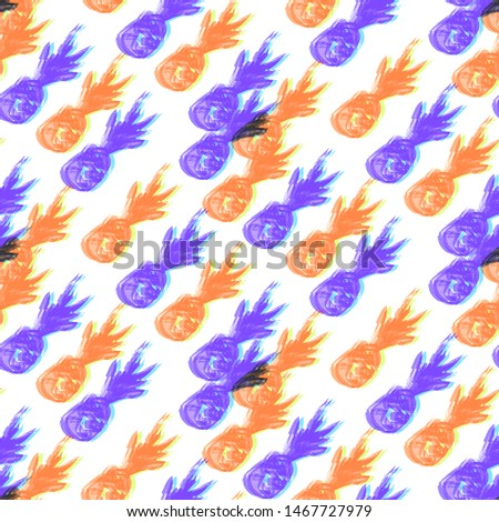 Seamless pattern retro design. Mixed print with glitched pineapples. Watercolor effect. Suitable for bed linen, leggings, shorts and fashion industry.