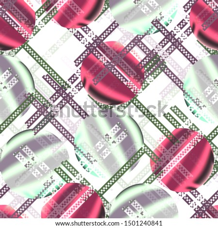 Seamless pattern retro design. Mixed print with gradient circles. Watercolor effect. Suitable for bed linen, leggings, shorts and fashion industry.
