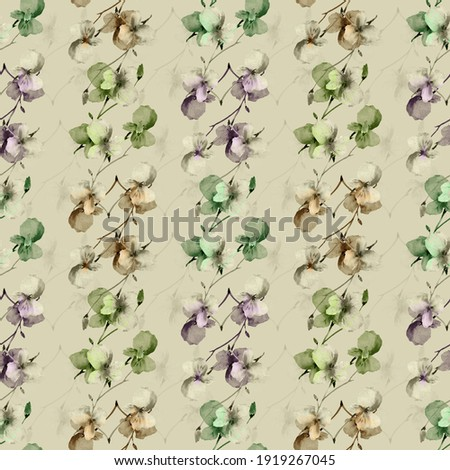 Seamless pattern small wild beige, green and violet branchs of flowers on a deep green background. Watercolor Foto d'archivio ©