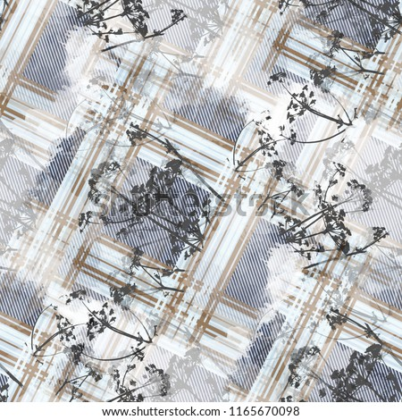 Seamless pattern tartan design. Creative background with stripes, flowers and watercolor effect. Textile print for bed linen, jacket, package design, fabric and fashion concepts.
