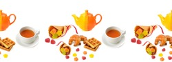 Seamless pattern. Teapot, cup with tea and pastries isolated on a white background.