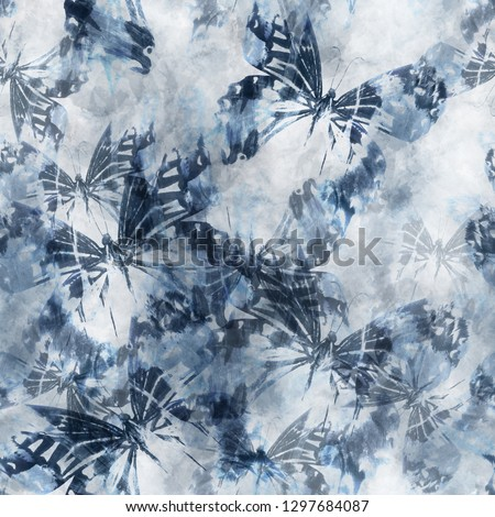 91928aaa Seamless pattern tie-dye design. Indigo background with butterflies and watercolor  effect. Textile