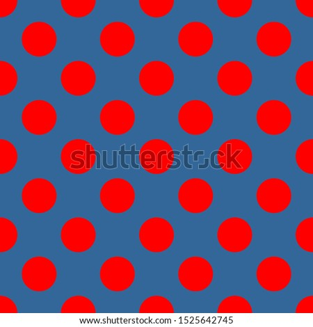 Seamless pattern, tile background or texture with red polka dots on a sailor navy blue background.