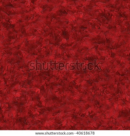 Seamless pattern tile of textured red feathers