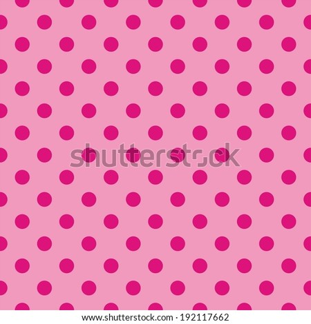 Seamless pattern, tile texture or wallpaper background with red polka dots on baby pink background.