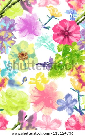 seamless pattern,tropical flowers,watercolor floral,high fashion