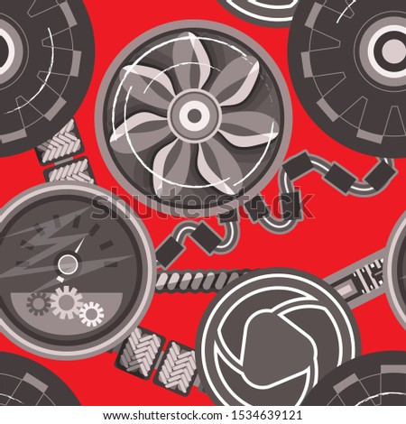 Seamless pattern using various mechanisms and technical elements
