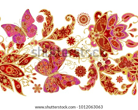 Seamless pattern. Vertical border. Golden textured curls. Brilliant lace, stylized flowers, pink pastel rose. Openwork weaving delicate, golden background, Paisley, jeweler's butterfly.