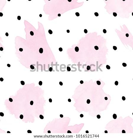 Seamless Pattern - Watercolor pink strokes on black polka dots -