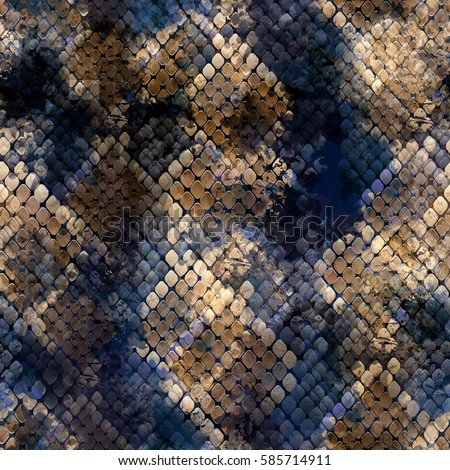 Seamless pattern wild design. Snakeskin background with watercolor effect. Textile print for bed linen, jacket, package design, fabric and fashion concepts.