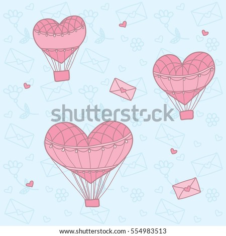 Seamless pattern with a balloon in the form of heart.  Background for greeting cards, scrapbooking, print, gift wrap, manufacturing, fabric. Valentine's Day. #554983513