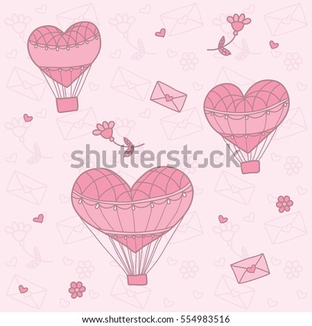Seamless pattern with a balloon in the form of heart.  Background for greeting cards, scrapbooking, print, gift wrap, manufacturing, fabric. Valentine's Day. #554983516