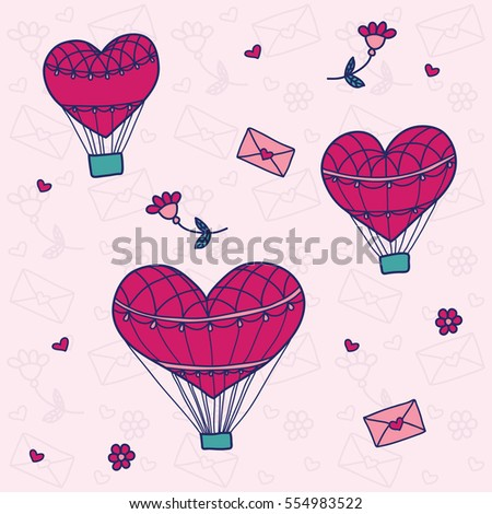 Seamless pattern with a balloon in the form of heart.  Background for greeting cards, scrapbooking, print, gift wrap, manufacturing, fabric. Valentine's Day. #554983522