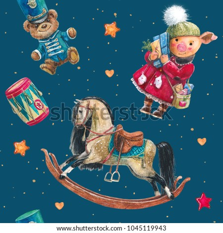 Seamless pattern with a Christmas watercolor piggy, in a coat, with gifts. rocking horse and vintage bear teddy in military uniform, military parade, children's party, New Year, vintage toys.