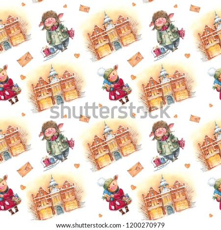 Seamless pattern with a Christmas watercolor piggy, symbol of the year, 2019 and vintage European winter houses