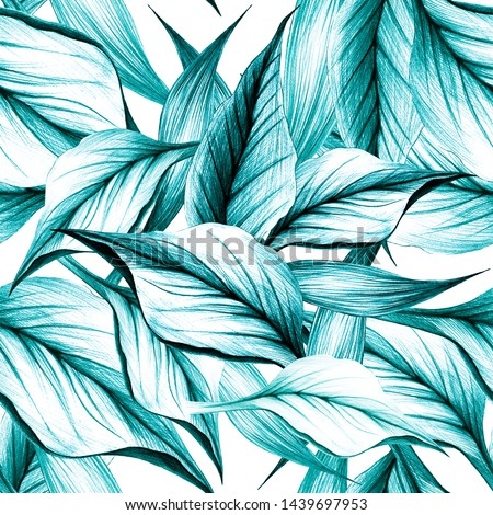 Seamless pattern with a pencil tropical leaves. manual graphics. Botanical flower, ink, floral pattern for textile decor and design, patterns. botanical color illustration. stock graphics