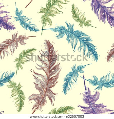 Seamless pattern with a watercolor pattern - Colorful bird feather. Vintage illustration, pink, green blue, purple flowers. On a yellow background #632507003