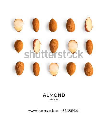 Seamless pattern with almond. Abstract background. Almond on the white background.