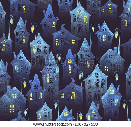 Seamless pattern with an old city in the night. Crooked houses with lit windows and lanterns painted in watercolor. Halloween night.