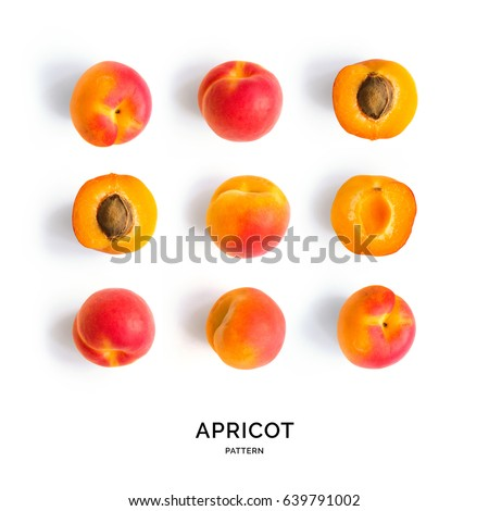 Seamless pattern with apricot. Tropical abstract background. Apricot on the white background. Сток-фото ©