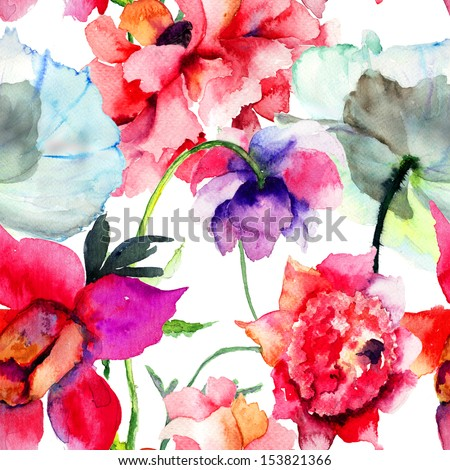 Seamless pattern with Beautiful Peony flowers, Watercolor painting
