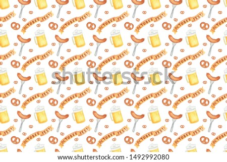 Seamless pattern with beer, glass, sausage, pretzel, banner for oktoberfest. Hand drawn watercolour painting on white background clip art graphic elements for creative design and printable decor.
