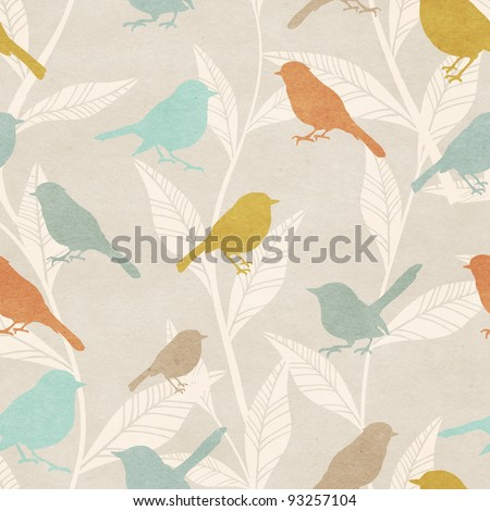 Seamless pattern with birds and foliage