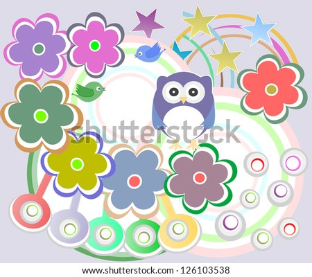 Seamless pattern with birds owls and flowers, raster