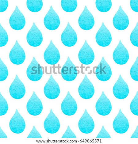 Seamless pattern with blue watercolor drops