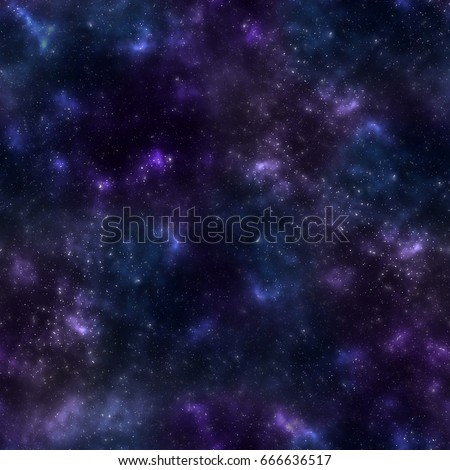 Seamless pattern with bright multicolored texture of cosmos. Small stars and celestial bodies in space. Cosmic background.