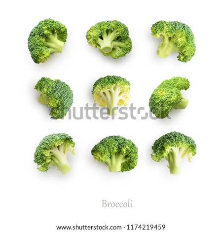 Seamless pattern with broccoli. Broccoli isolated on the white background, top view.