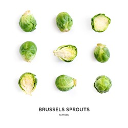 Seamless pattern with brussels cabbage. Abstract background. Brussels cabbage on the white background.