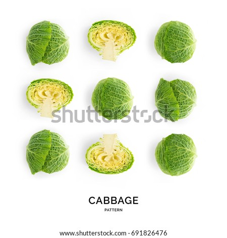 Seamless pattern with cabbage. Vegetables abstract background. Cabbage on the white background.